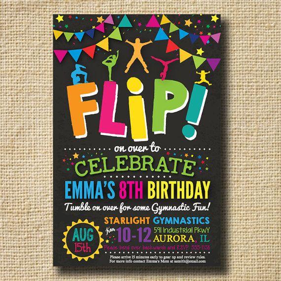 Gymnastics Invitations Gymnastics Birthday by creativelime on Etsy