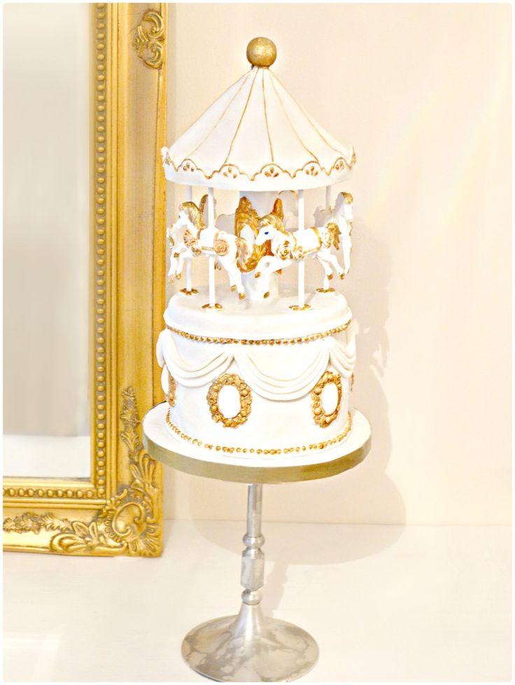 White and Gold Carousel Wedding Cake Cherie Kelly London