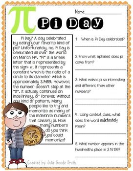 Quick comprehension check about Pi Day. *FREE*