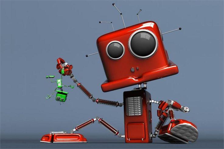 Смешно 3d мультфильм работа робот маленький робот # 23 4-Sized украшения дома холст печать плакатов