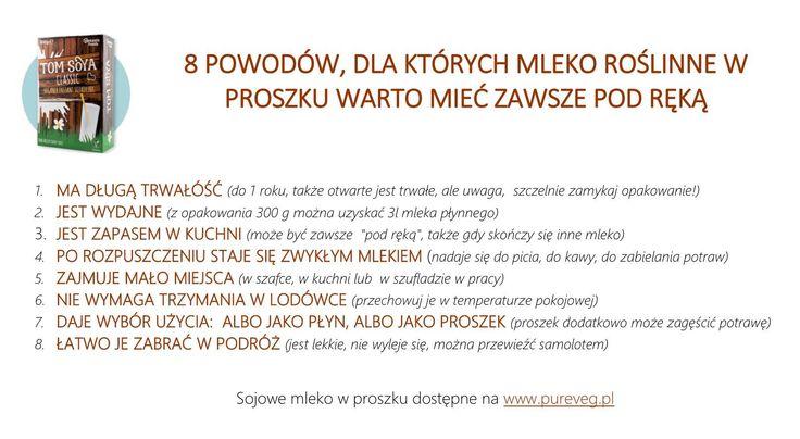Używacie mleka roślinnego w proszku? A dlaczego nie?  Oto 8 powodów, dla których mleko w proszku warto mieć pod ręką. A doskonałe mleko sojowe w proszku znajdziesz tutaj>> https://pureveg.pl/mleko-sojowe-w-proszku.html #mlekosojowe #sojowemlekowproszku #mlekoroslinewproszku #tomsoya