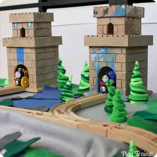 DIY Castle for Wooden Trains @ Play Trains! http://play-trains.com An inexpensive craft perfect for playing out the new Thomas & Friends mov...