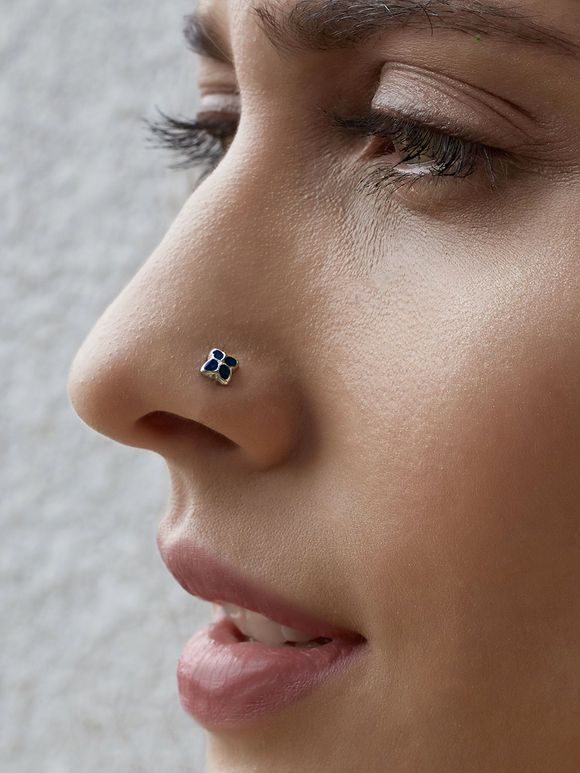 Silver Blue Nose Pin Nose Ring Nose Jewelry Nose Ring Stud Gold