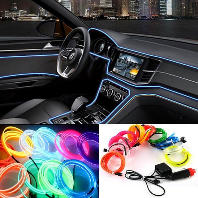2 Mt 3 Mt 5 Mt Auto 12 V Led Kalte Lichter Flexible Neon El Draht Auto Lampen Auf Auto Kalten Licht Streifen Linie Inne Car Led Car Lights Cute Car Accessories