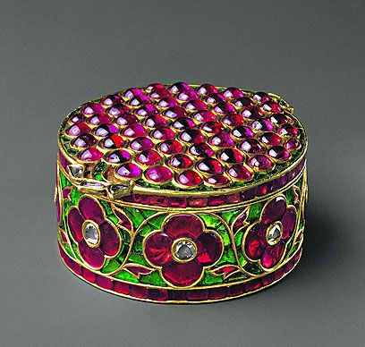 Jewel Box of Mughal Emperors. It's made with Gold, rubies, emeralds, diamonds with enamel and kundan technique