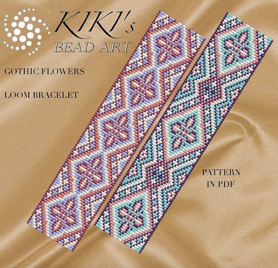 Bead loom pattern  Gothic flowers LOOM bracelet pattern in