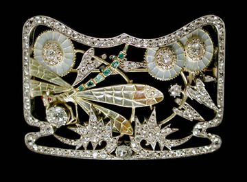 Masriera Diamond Dragonfly Brooch, art nouveau style (made in this century, not antique).