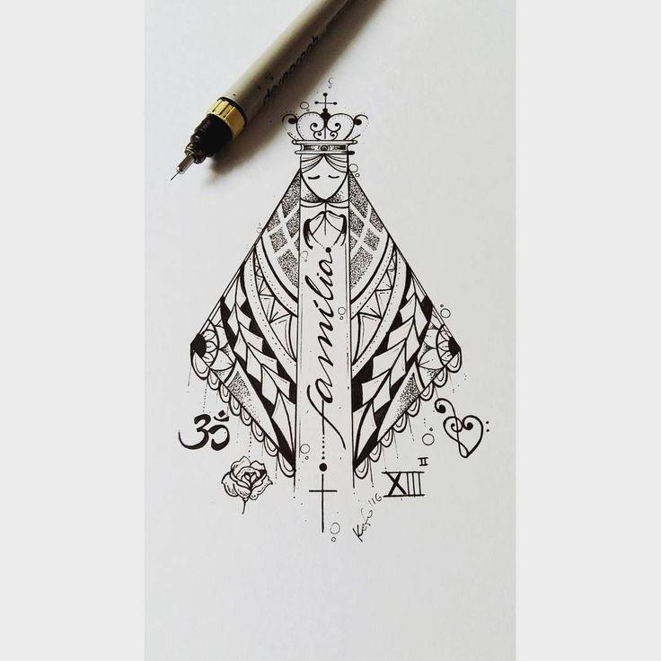 """458 Likes, 19 Comments - Kefo_Nascimento (@ateliekefonascimento) on Instagram: """"Desenho da nossa Senhora desenvolvido para cliente Lívia.  Foi usado uma ornamentação maori e…"""""""