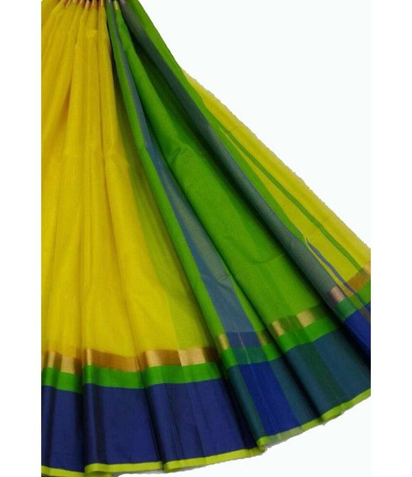 Yellow Handloom Maheshwari Cotton Silk Saree