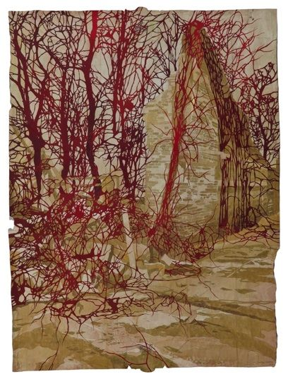 Maysey Craddock . . . true fiber art  gouache and thread on found paper  work '12-'13 #6 - into the red ruin