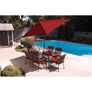 Providence 7 Piece Patio Dining Set, Red, Seats 6