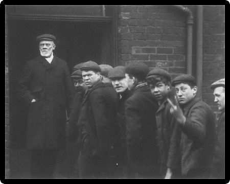 """Workers outside Parkgate Ironworks, Rotherham, 1901. This is the oldest, unambiguous evidence of the rude 'V-sign' bopollo: """"from wiki Origins A commonly repeated legend claims that the two-fingered salute or V sign derives from a gesture made by..."""