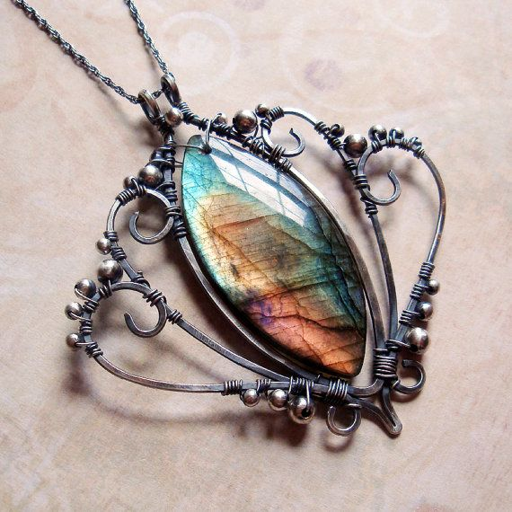 Wire work necklace with stone.