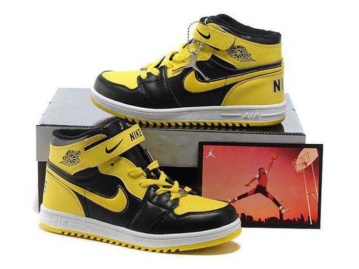 Nike Air Jordan Retro 1 Kids Shoes Yellow Black White