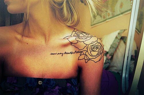 Shoulder rose tattoo