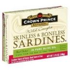 Crown Prince Sardines Skinless Boneless in Oil (12x3.75 Oz)