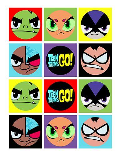 "Teen Titans Go 2"" Circle - Cupcake Topper, Tags, Printable"