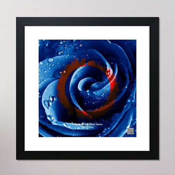 A Rose By Any Other Name Circular Sound Wave Framed Print With Contactless Playback Option 440mm x 440mm, Blue & Red