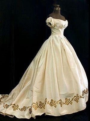 Silk moiré ballgown with metallic gold appliquéd hem border, c.1860  - a beautiful Victorian ballgown !