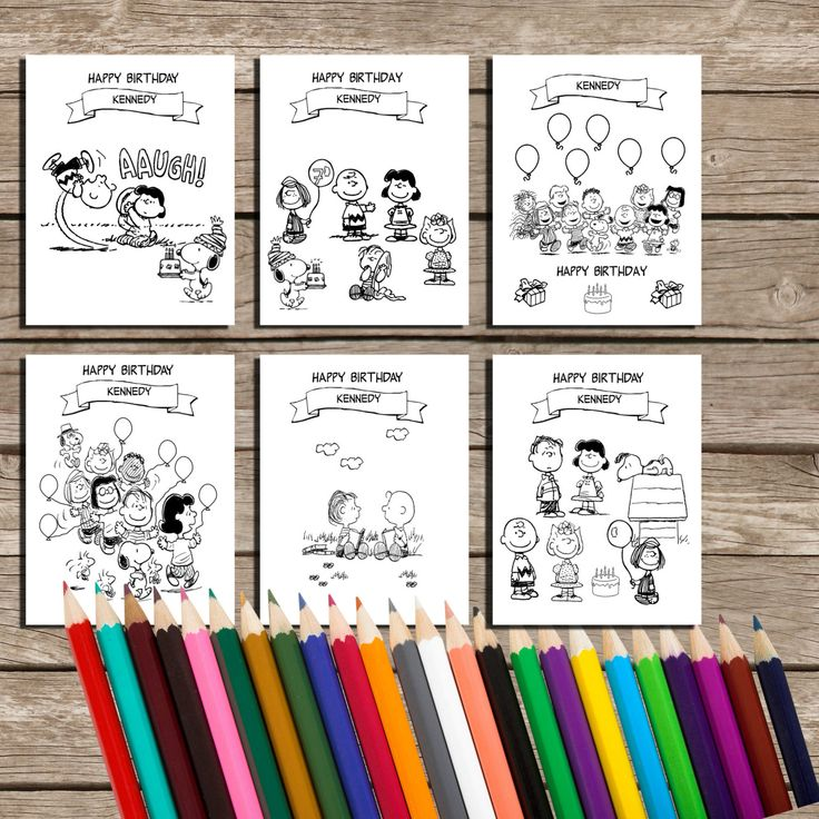6 Printable Personalized Charlie Brown Peanuts Snoopy Birthday Coloring Pages- Children Birthday Souvenirs - Peanuts Birthday Coloring Pages by OKPRINTABLES