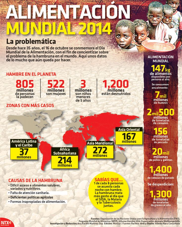 Desde hace 35 años, el 16 de octubre se conmemora el Día Mundial de la Alimentación, con el fin de concientizar sobre el problema de la hambruna en el mundo. Conoce algunos datos. #Infographic