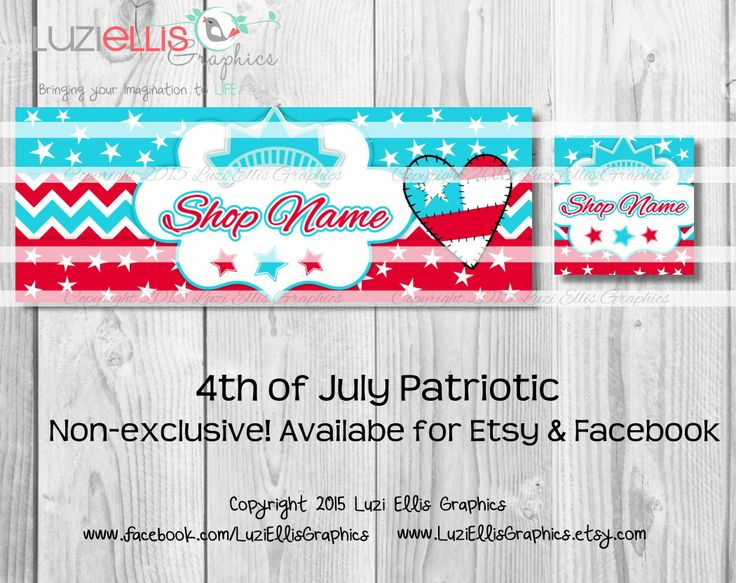 4th of July Patriotic USA American Stars and Stripes red white blue Facebook or Etsy Banner & Profile - non-exclusive by LuziEllisGraphics on Etsy
