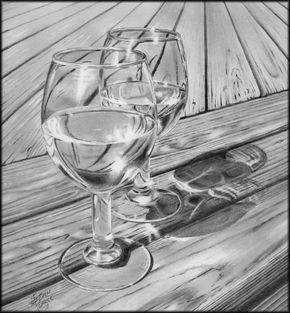 drawings of landscapes | Wine On The Deck | S R Pearce Fine Art