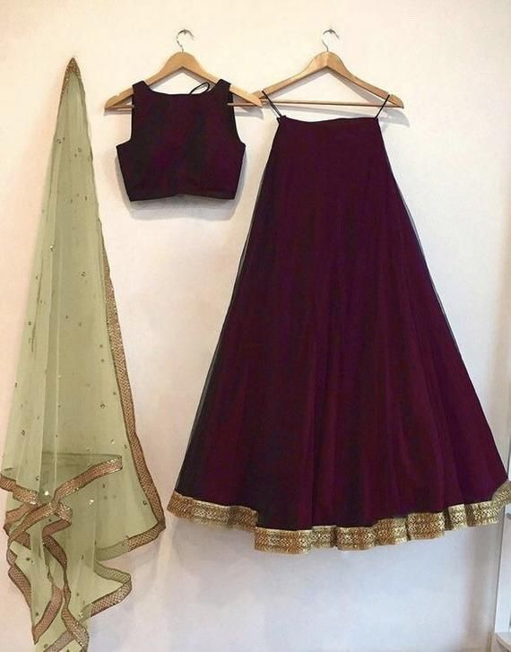 Red wine color lengha skirt and blouse crop top with contrast blush peach/ mint green dupatta indian