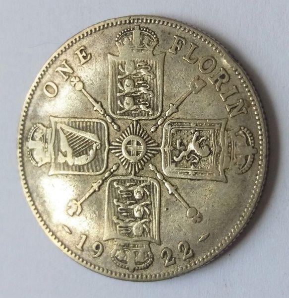 Moeda Britânica em Prata no valor de One Florin, aprese..