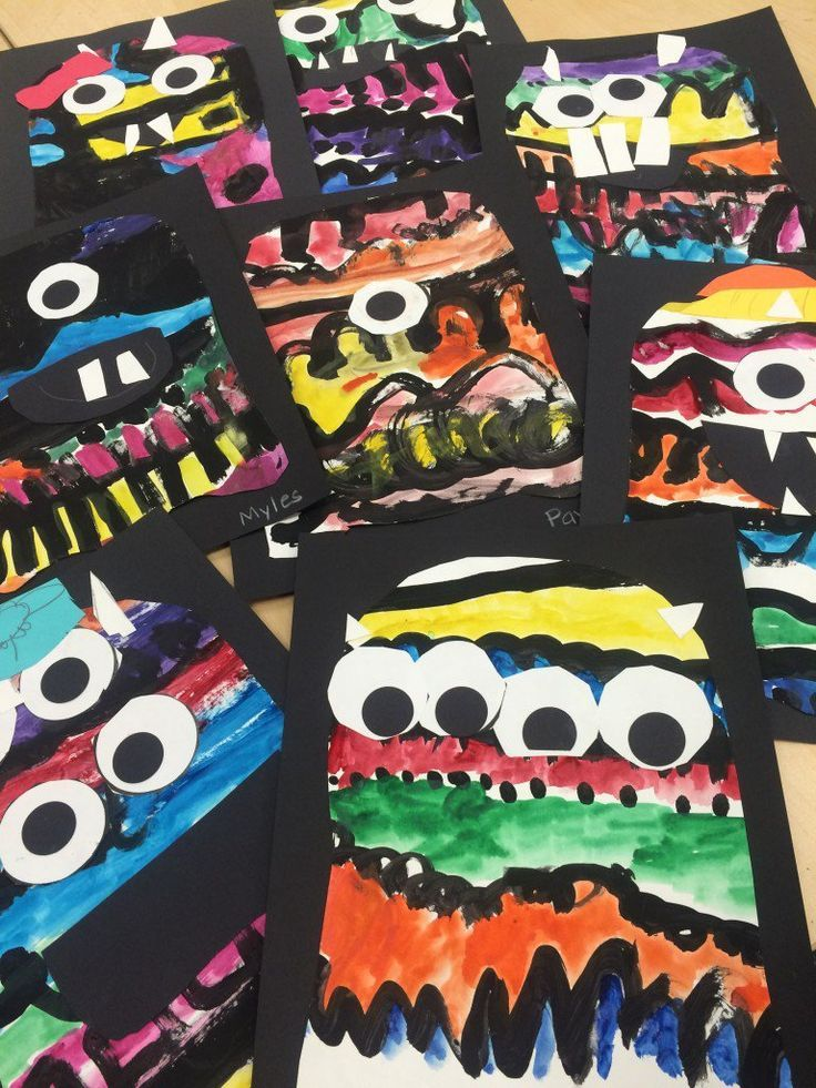 kindergarten line monsters what a fun not scary halloween project or art activity - Halloween Art For Kindergarten