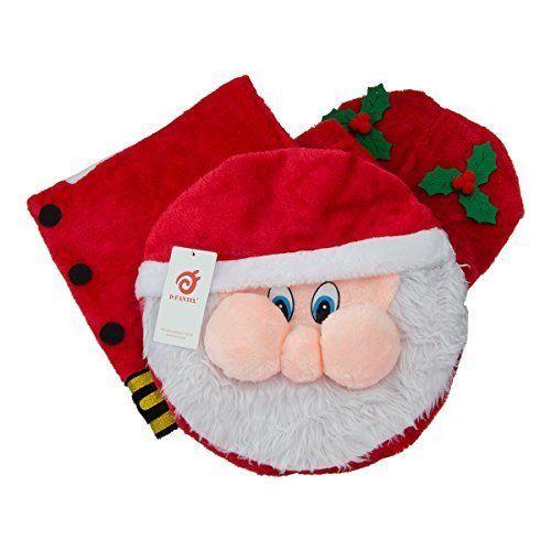 Santa Toilet Seat Cover And Rug Set Of 3 Bathroom Christmas Decoration