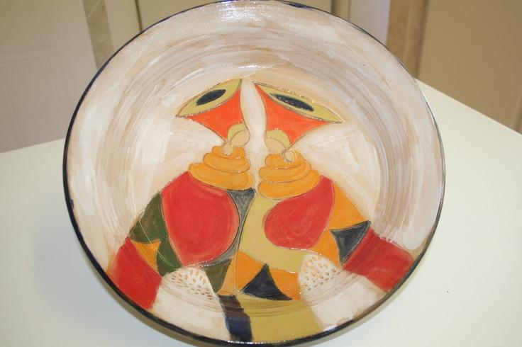 Bright colours stoneware pottery bowl