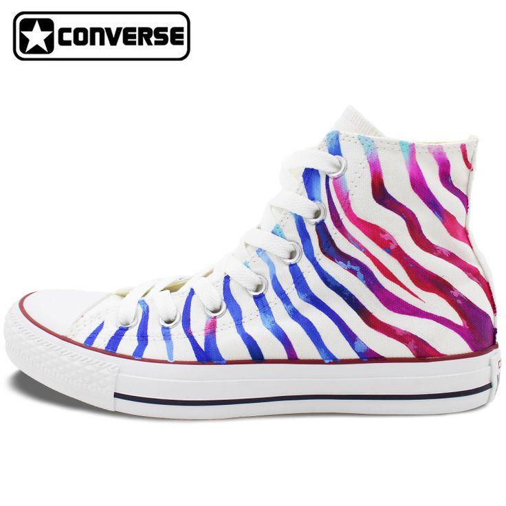 Diseño de rayas de cebra de color original converse chuck taylor zapatos pintados a mano de encargo hombre mujer high top sneakers mujeres de los hombres
