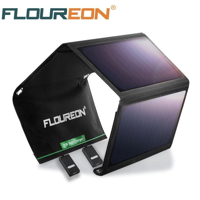 Floureon Solar Panel 5v 21w Portable Foldable Solar Charger Power Bank With Dual Usb Waterproof For Smartphone Tablet Review Solar Charger Solar Panel Charger Usb