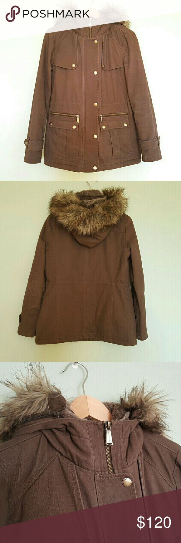 Michael Kors Dark Olive Faux Fur Hooded Parka S This awesome parka comes in a dark brownish olive color and features a removable faux fur trimmed hood. It was only worn a few times and has since been dry cleaned, so it is in very good pre-owned condition with only minor signs of wear. Size small. MICHAEL Michael Kors Jackets & Coats Utility Jackets