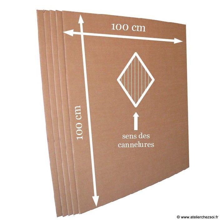 Plaque de carton double-cannelure brun 100 par 100 cm - Créer ses meubles en carton