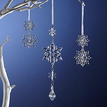 LENOX Ornaments: Snowflakes & Snowmen - Set of 3 Falling Snowflakes Ornaments