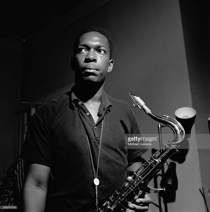 Jazz saxophonist John Coltrane during the recording session for his Blue Train album.