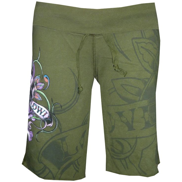 Ed Hardy Womens Terry Gym Drawstring Shorts- Olive