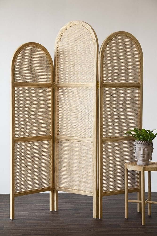 Sungkai Woven Cane Wooden Room Divider Screen Natural Wooden