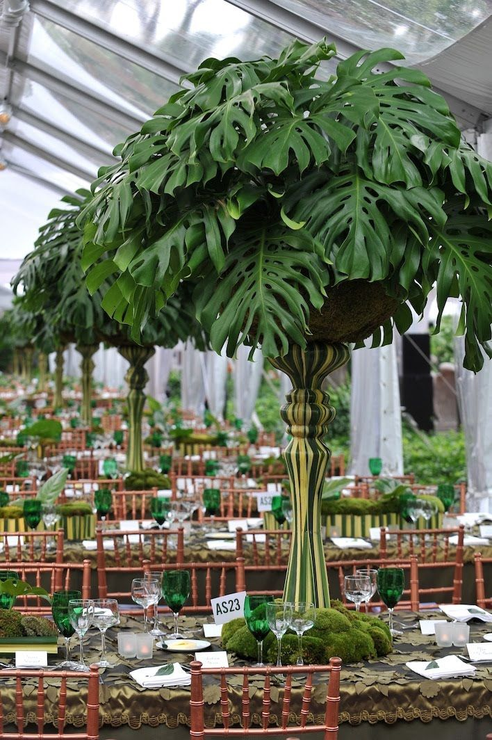 Great centerpiece of split leaf philodendron foliage