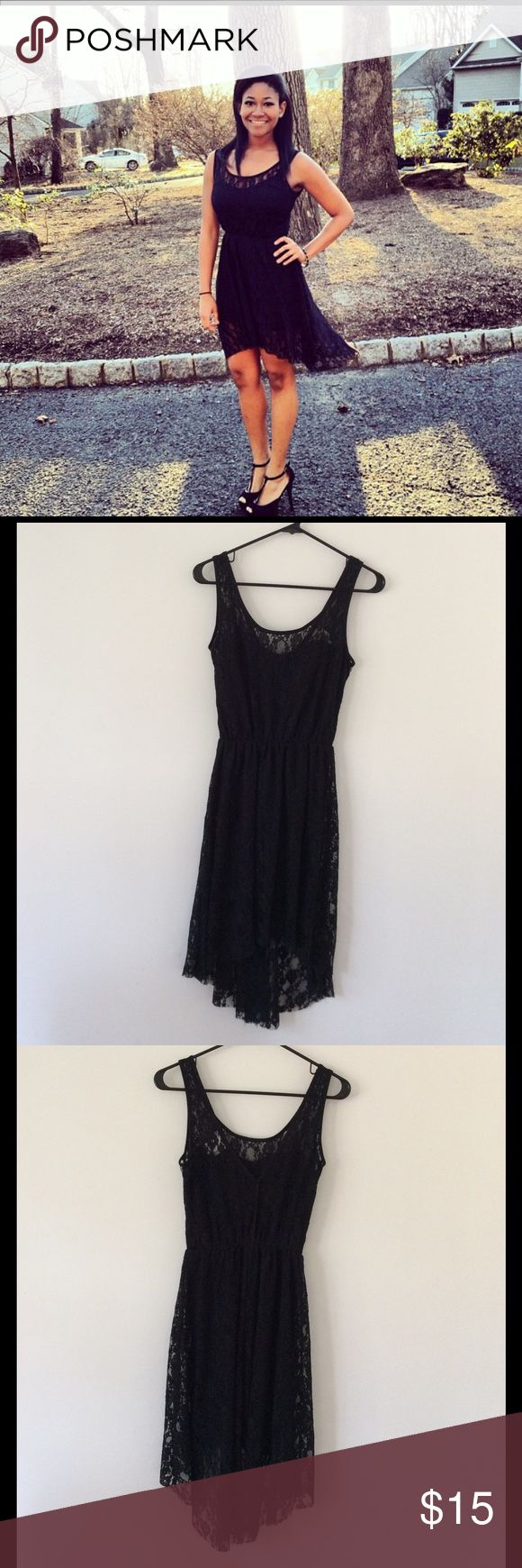 "Pretty Short Front Long Back Dress - Size Medium Sleeveless floral lace dress, short in front & longer in the back, lined from the waist down, V back (see 4th pic), elastic waist. Length: 34"" (front - shoulder to hem), Back is 7 3/4"" longer than the front, Bust: 16"" (armpit to armpit), Waist: 10"".   90% Nylon, 10% Spandex, Lining-100% Polyester. Pretty Rebellious Dresses"