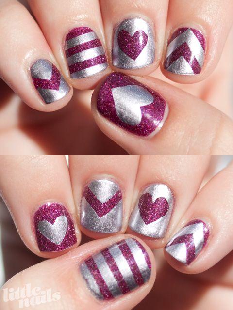 OPI DS Extravagance, China Glaze Devotion: Nail Polish, Heart, Nailart, Nail Designs, Makeup, Nail Ideas, Valentine, Nail Art