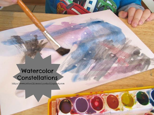 Use white crayons to draw constellation dots.  Then paint over with watercolors to reveal the constellations.