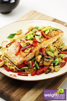 Healthy Dinner Recipes: Glazed Salmon with Noodles Recipe. #HealthyRecipes #DietRecipes #WeightLoss #WeightlossRecipes weightloss.com.au