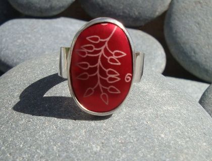 Silver & Red Leaf Ring
