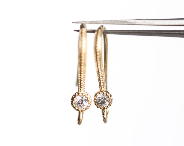 1305_Cubic zirconia earwires 18mm, Gold ear hooks, Snake earrings, Textured earring hooks, Ear wires, CZ ear hooks, Earring findings_2 pair. by PurrrMurrr on Etsy