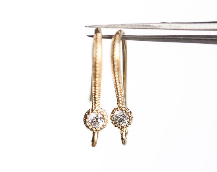 1305_Cubic zirconia earwires 18mm, Gold ear hooks, Snake earrings, Textured earring hooks, Ear wires, CZ ear hooks, Earring findings_2 pair. by PurrrMurrr on Etsy