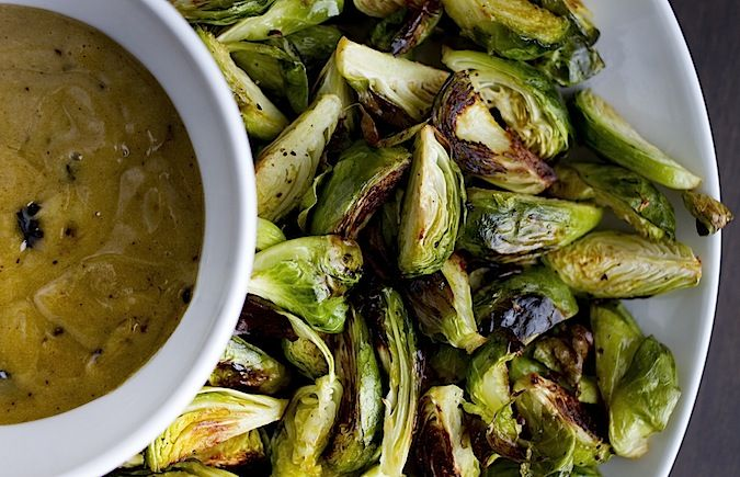 crispy brussel sprouts with black garlic aioli