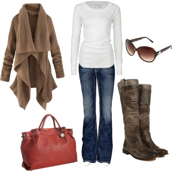 """Brown and Red"" by lwaits on Polyvore: Sweaters, Style, Clothing, Fall Outfits, Fall Fashion, Boots, Bags, Travel Outfits, While"